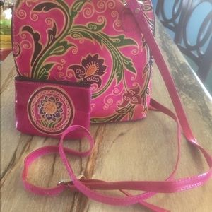 Pink Floral Crossbody Purse and Wallet